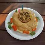 こんな素敵なケーキを用意してくださってました。 食べるのがもったいない?! シュークリーム風のわんこケーキです。